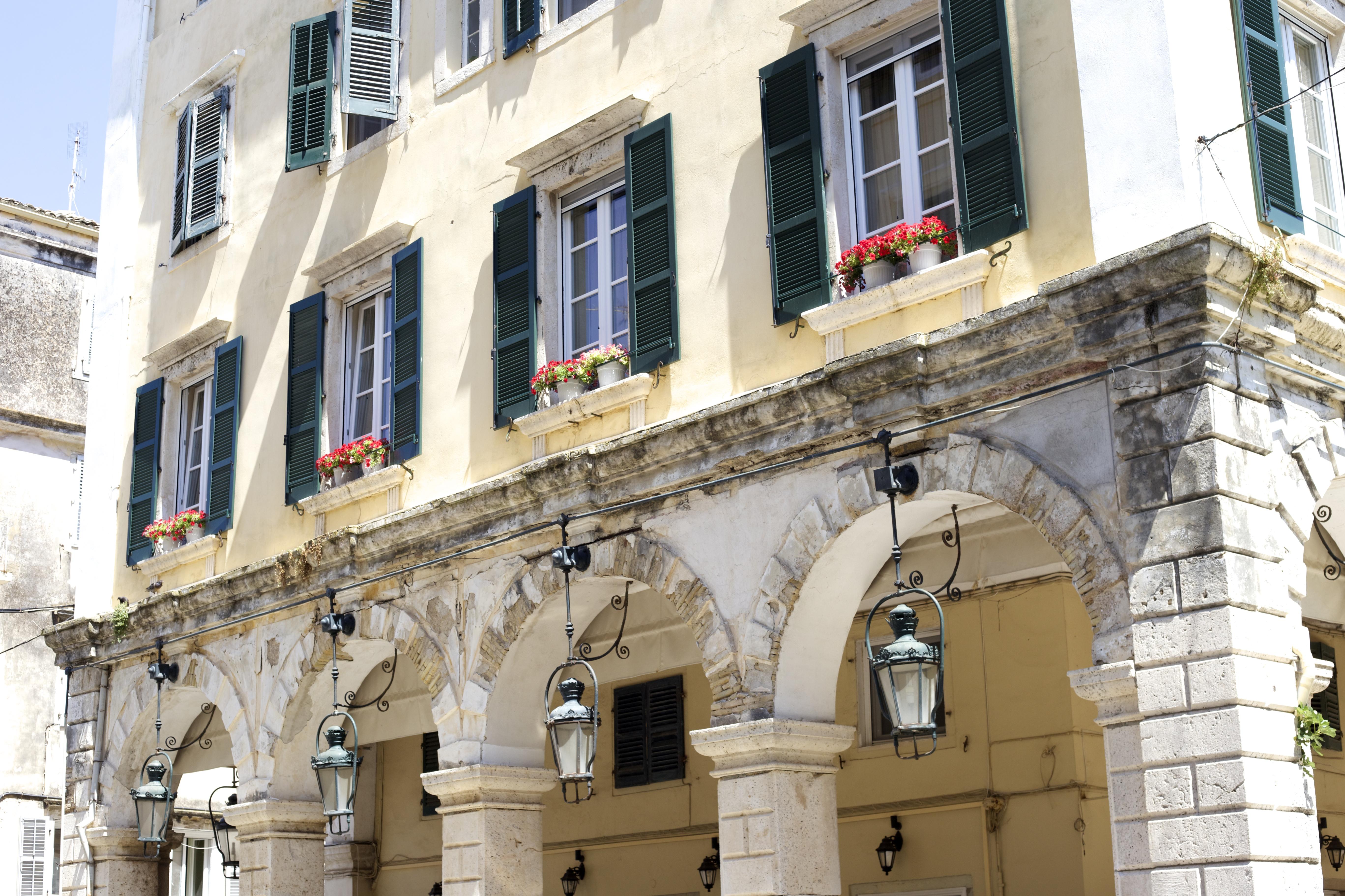 Korfu Stadt Kerkyra Fassade Innenstadt