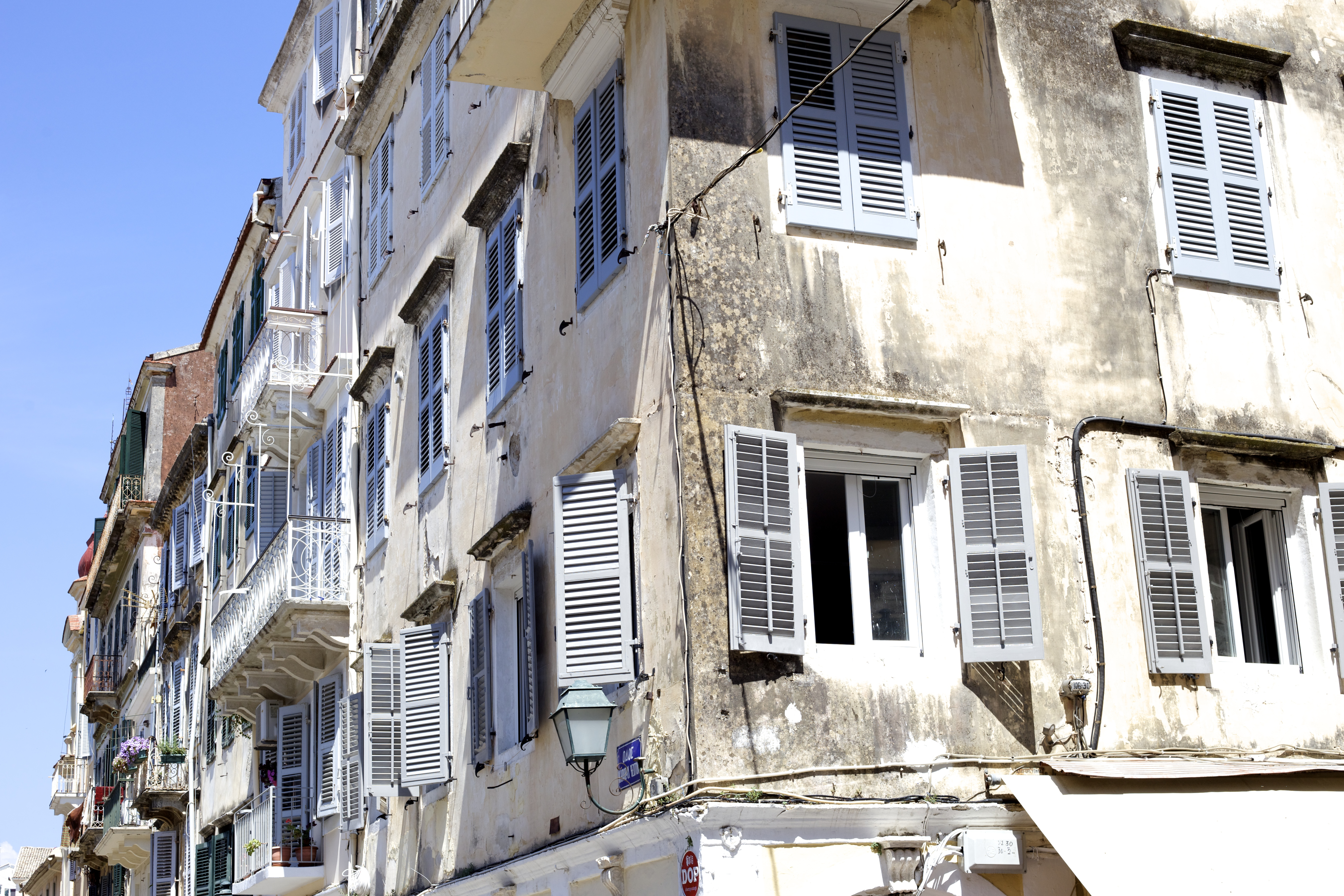 Korfu Stadt Kerkyra Fassade Innenstadt Eindrücke